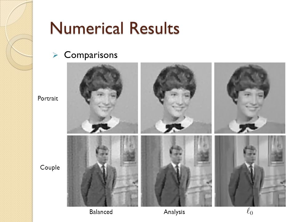 Numerical Results Comparisons Portrait Couple Balanced Analysis