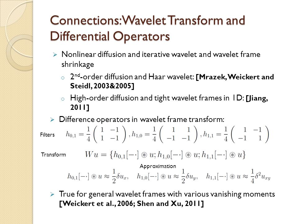Connections: Wavelet Transform and Differential Operators