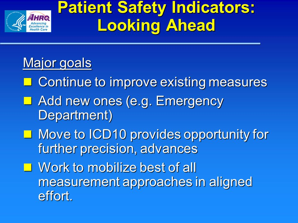 Patient Safety Indicators: Looking Ahead
