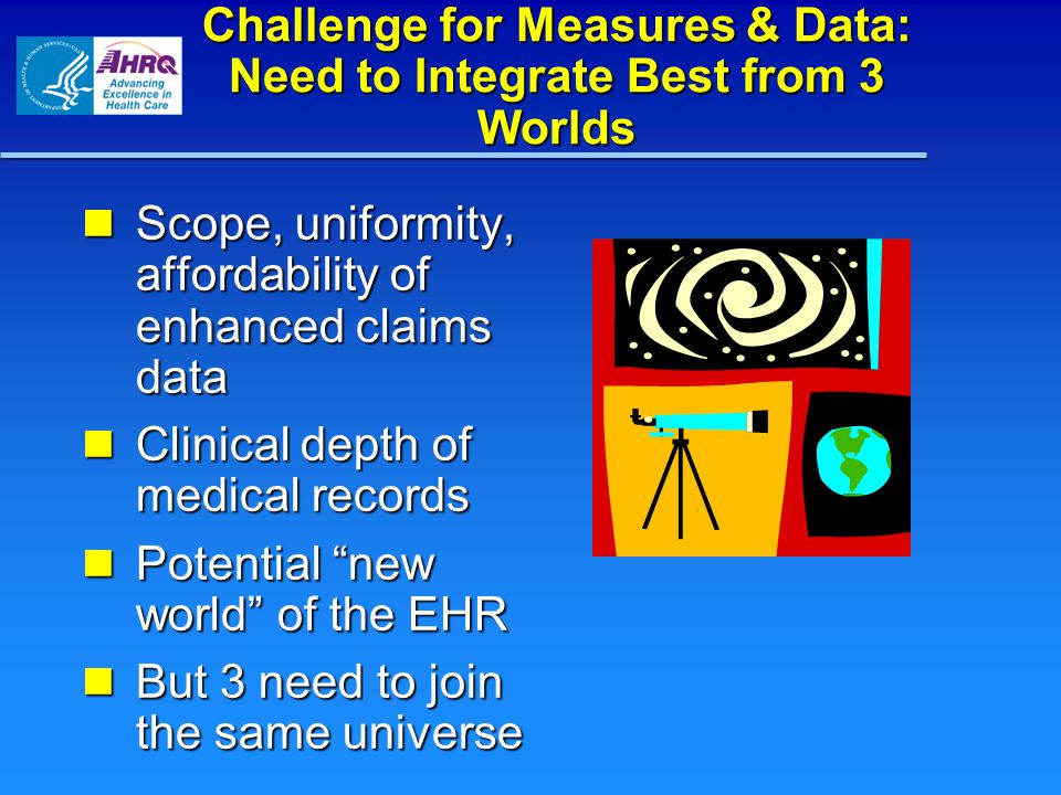 Challenge for Measures & Data: Need to Integrate Best from 3 Worlds