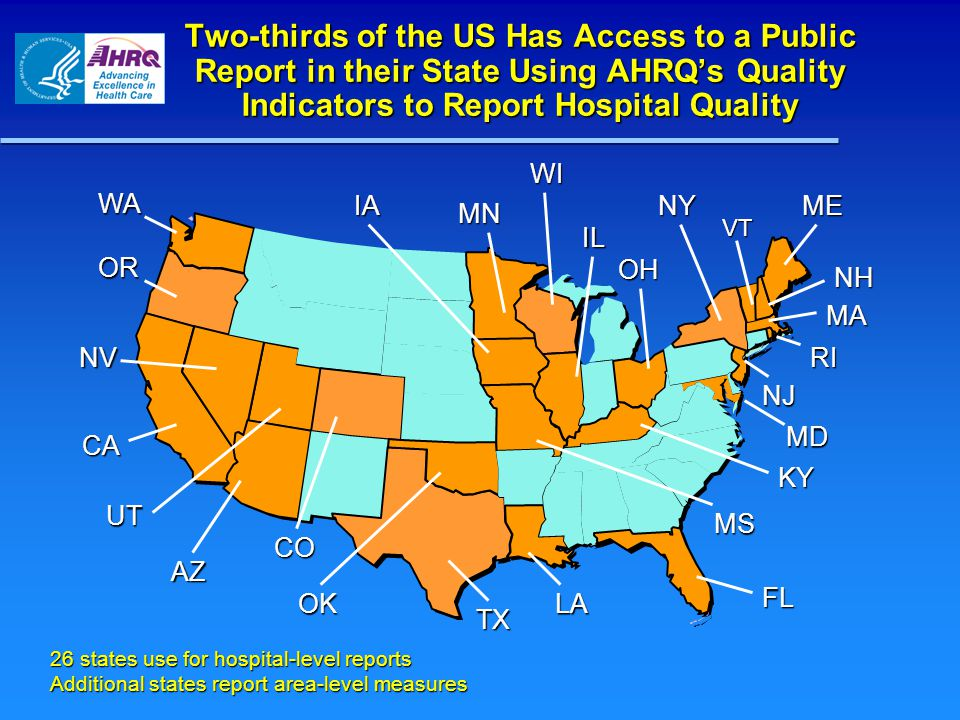 Two-thirds of the US Has Access to a Public Report in their State Using AHRQ's Quality Indicators to Report Hospital Quality