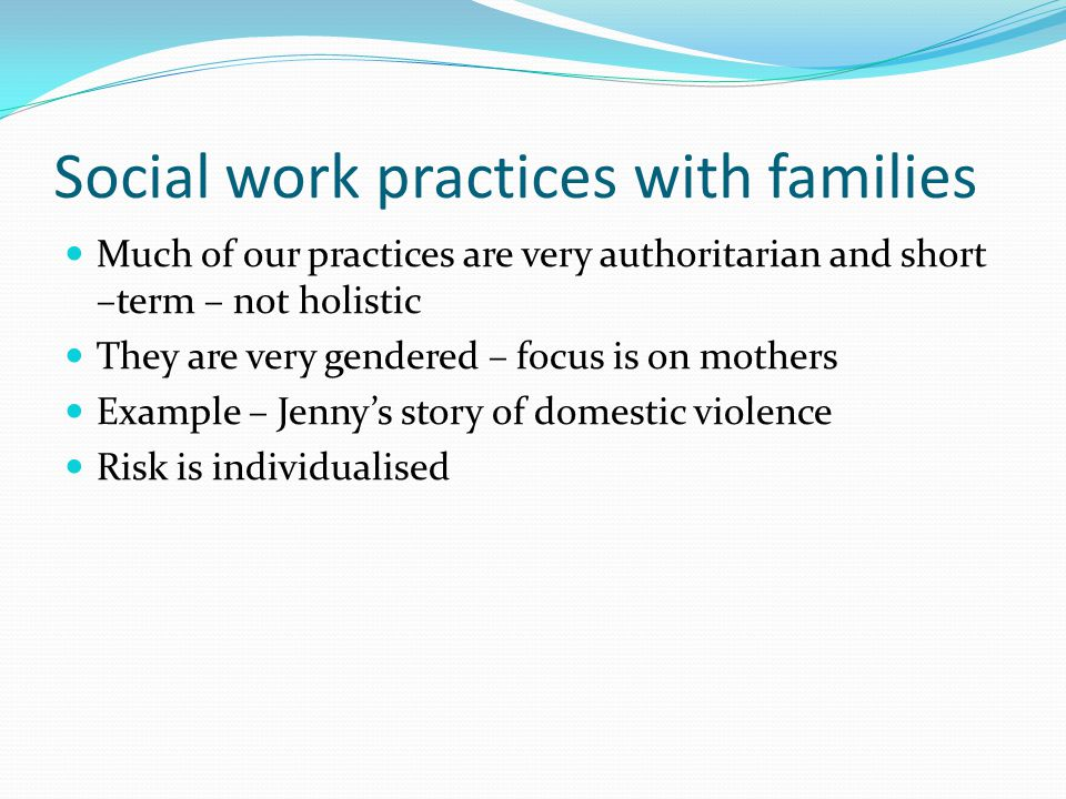 Social work practices with families