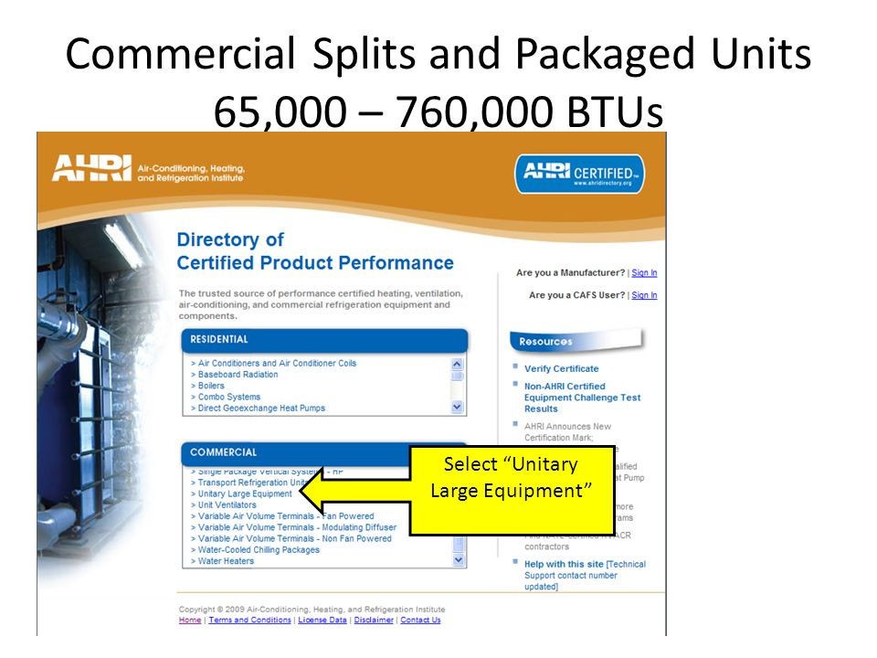 Commercial Splits and Packaged Units 65,000 – 760,000 BTUs