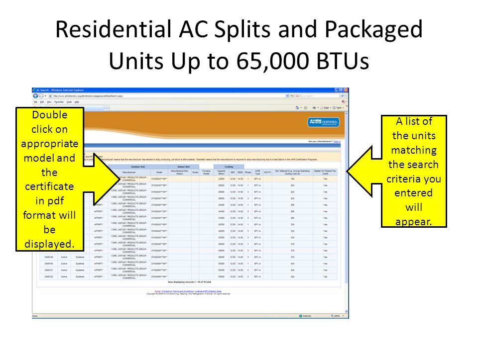 Residential AC Splits and Packaged Units Up to 65,000 BTUs