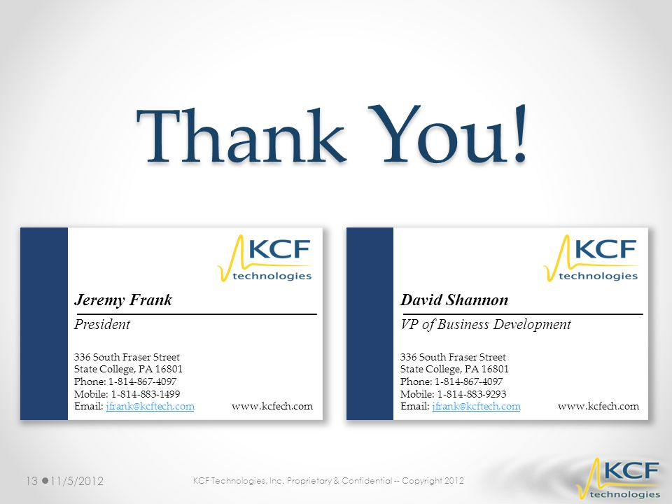 KCF Technologies, Inc. Proprietary & Confidential -- Copyright 2012