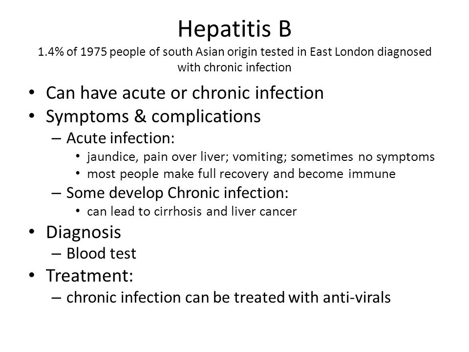Hepatitis B 1.4% of 1975 people of south Asian origin tested in East London diagnosed with chronic infection