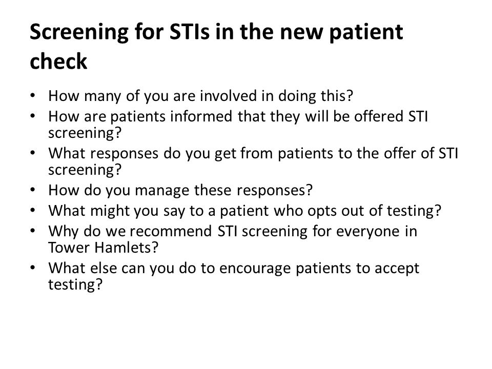 Screening for STIs in the new patient check