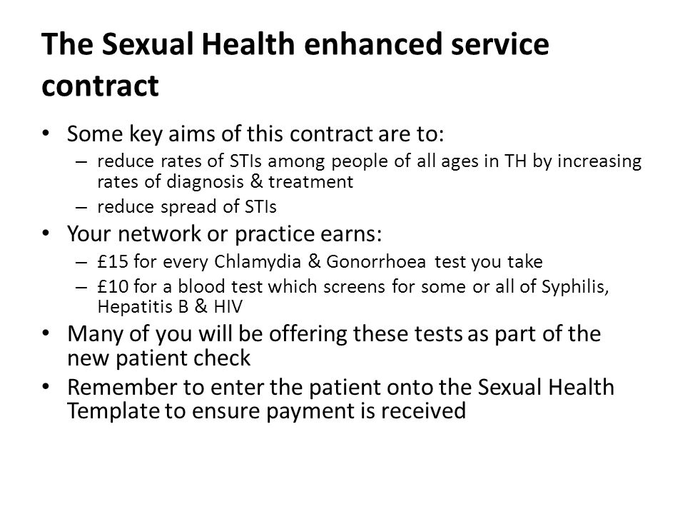 The Sexual Health enhanced service contract