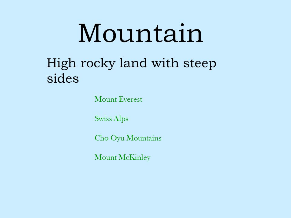 High rocky land with steep sides