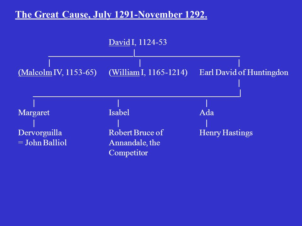 The Great Cause, July 1291-November 1292.