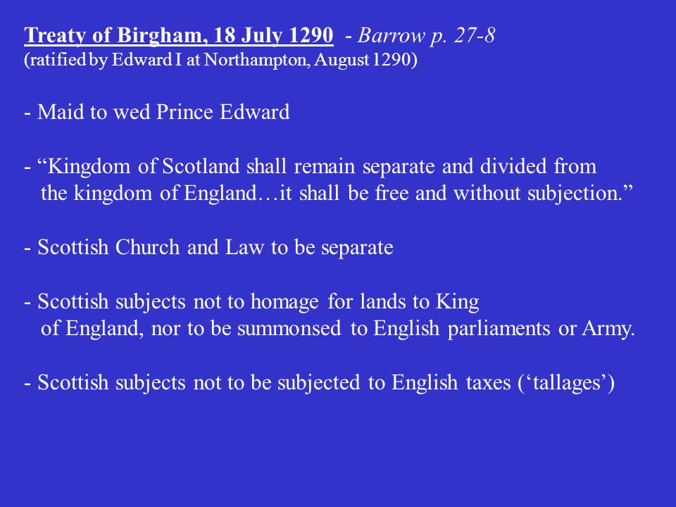 Treaty of Birgham, 18 July 1290 - Barrow p. 27-8