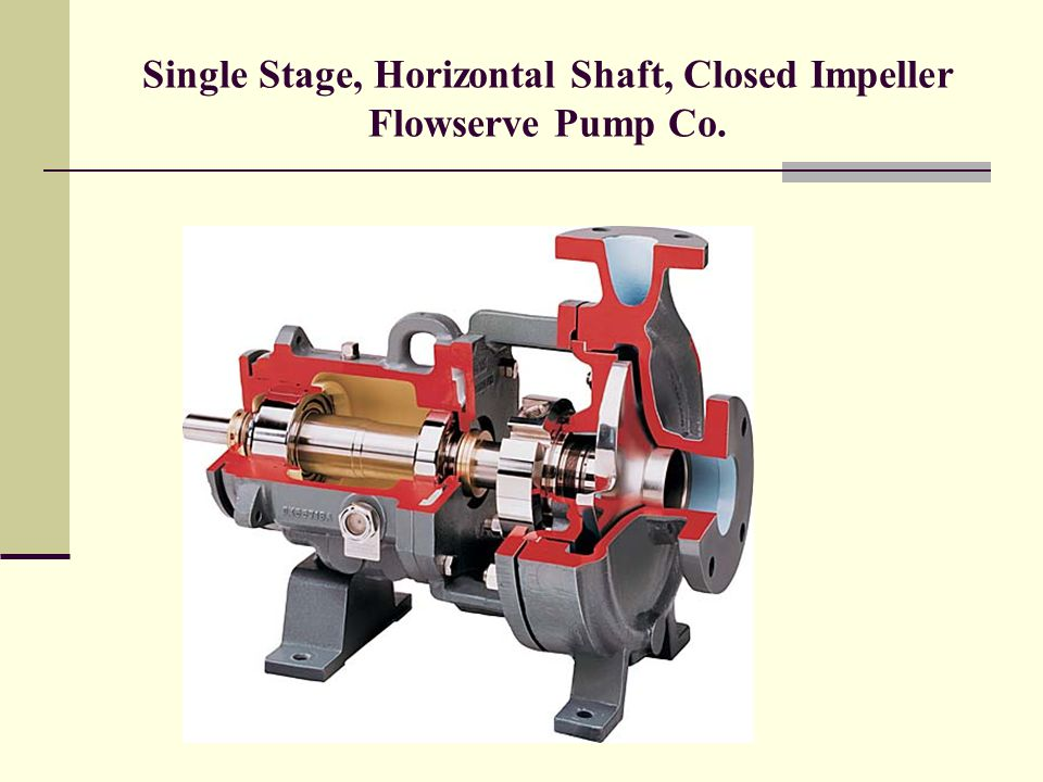 Single Stage, Horizontal Shaft, Closed Impeller Flowserve Pump Co.