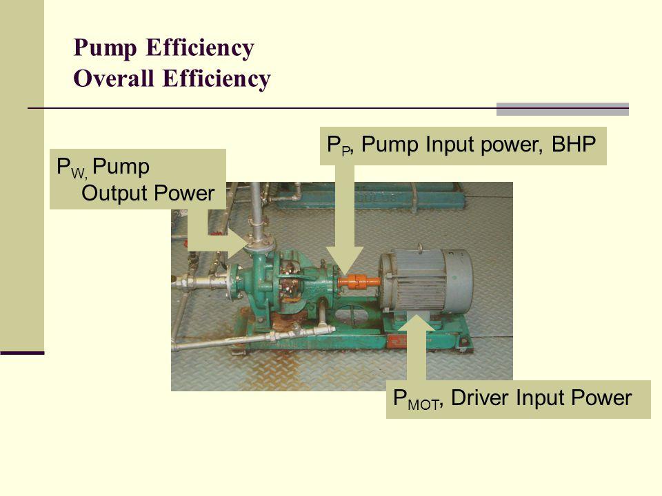 Pump Efficiency Overall Efficiency