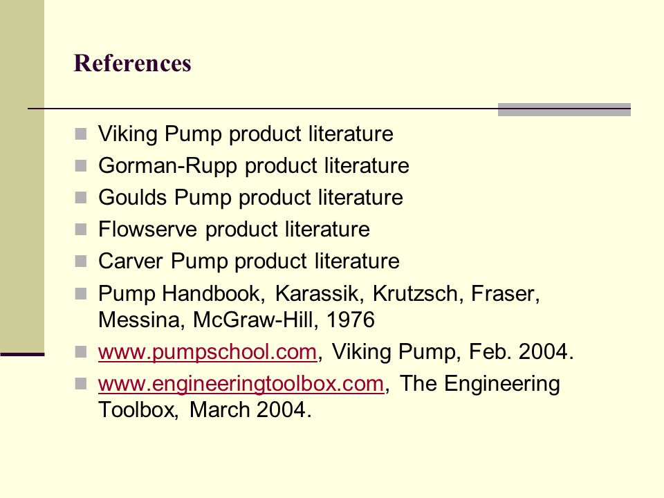 References Viking Pump product literature