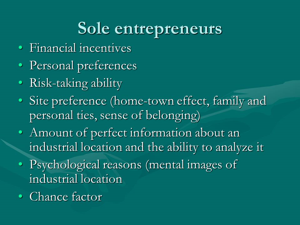 Sole entrepreneurs Financial incentives Personal preferences
