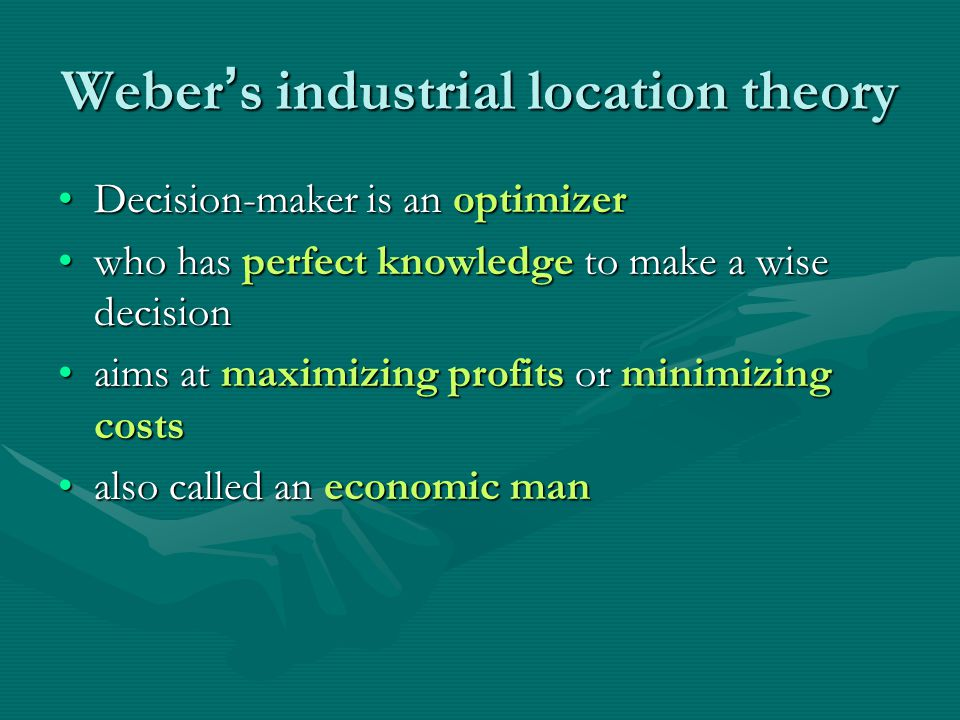 Weber's industrial location theory