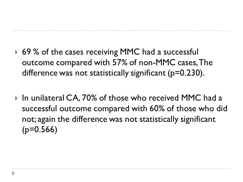 69 % of the cases receiving MMC had a successful outcome compared with 57% of non-MMC cases, The difference was not statistically significant (p=0.230).