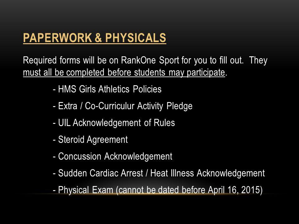 Paperwork & Physicals
