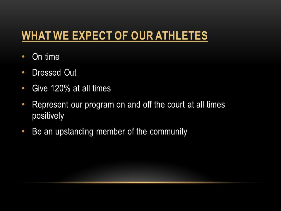 What we expect of our athletes