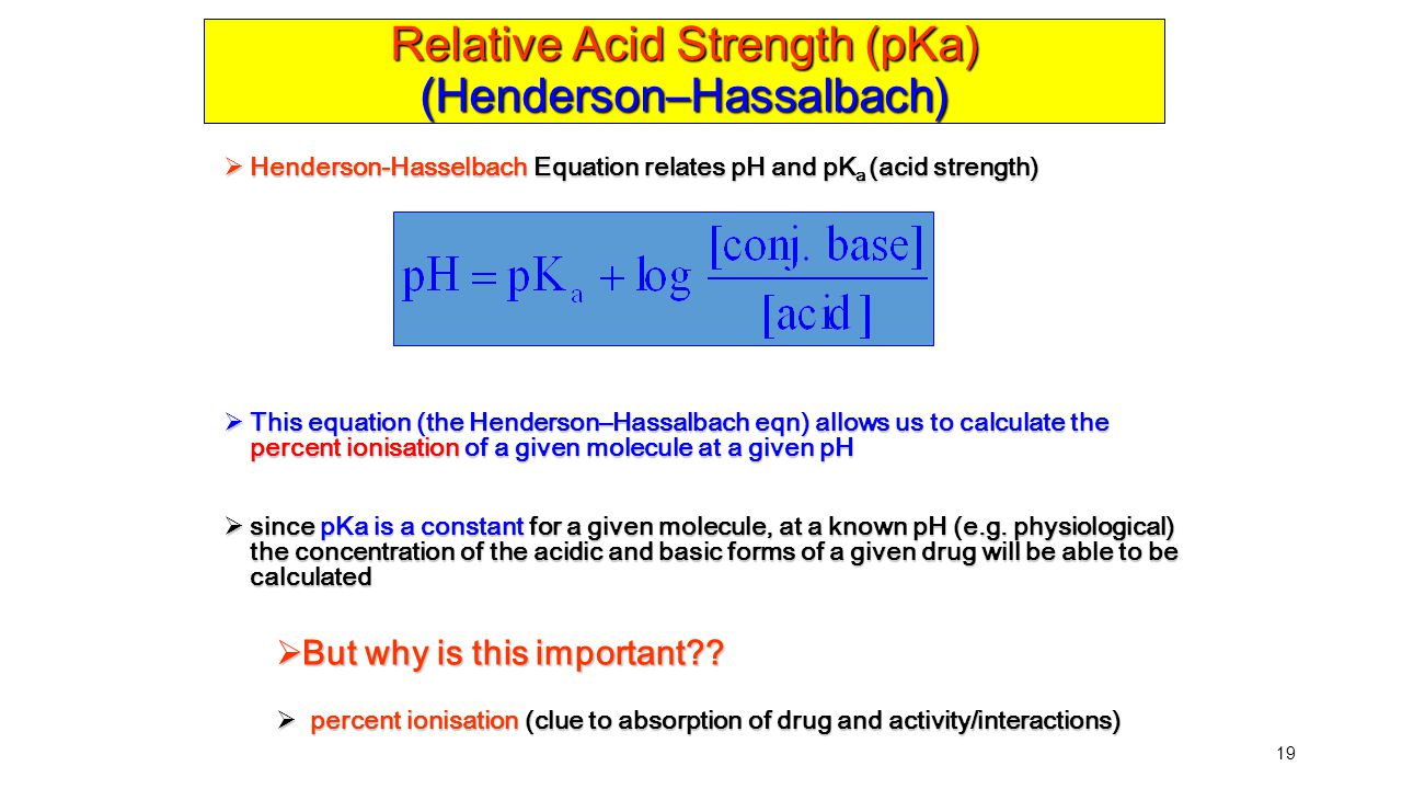 Relative Acid Strength (pKa) (Henderson–Hassalbach)