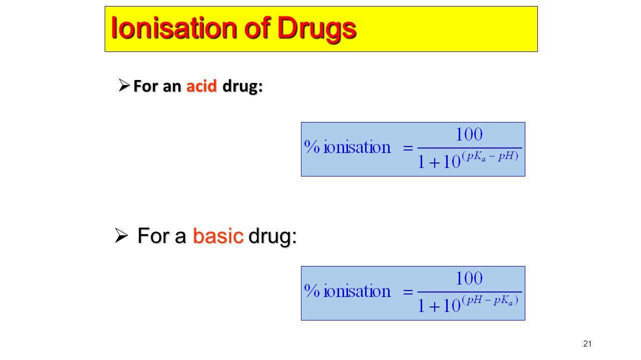 Ionisation of Drugs For an acid drug: For a basic drug: