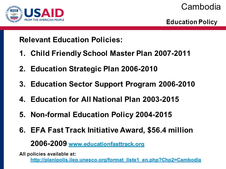 Cambodia Relevant Education Policies:
