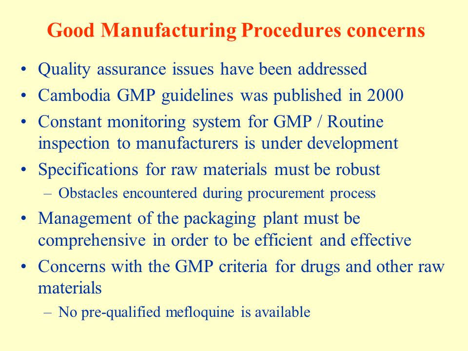 Good Manufacturing Procedures concerns