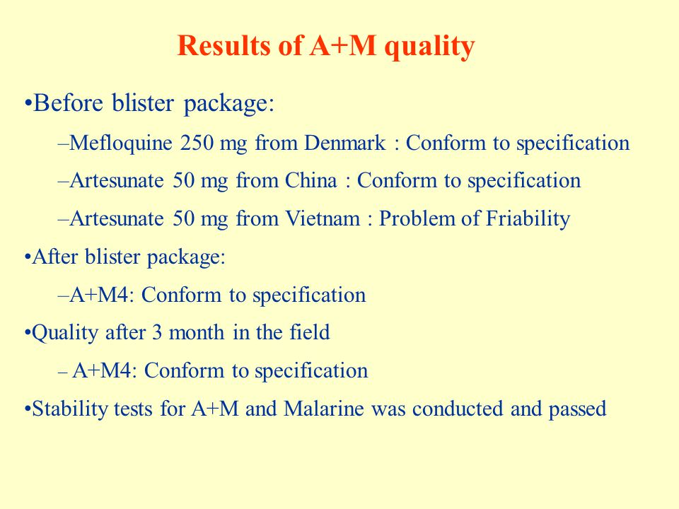 Results of A+M quality Before blister package: