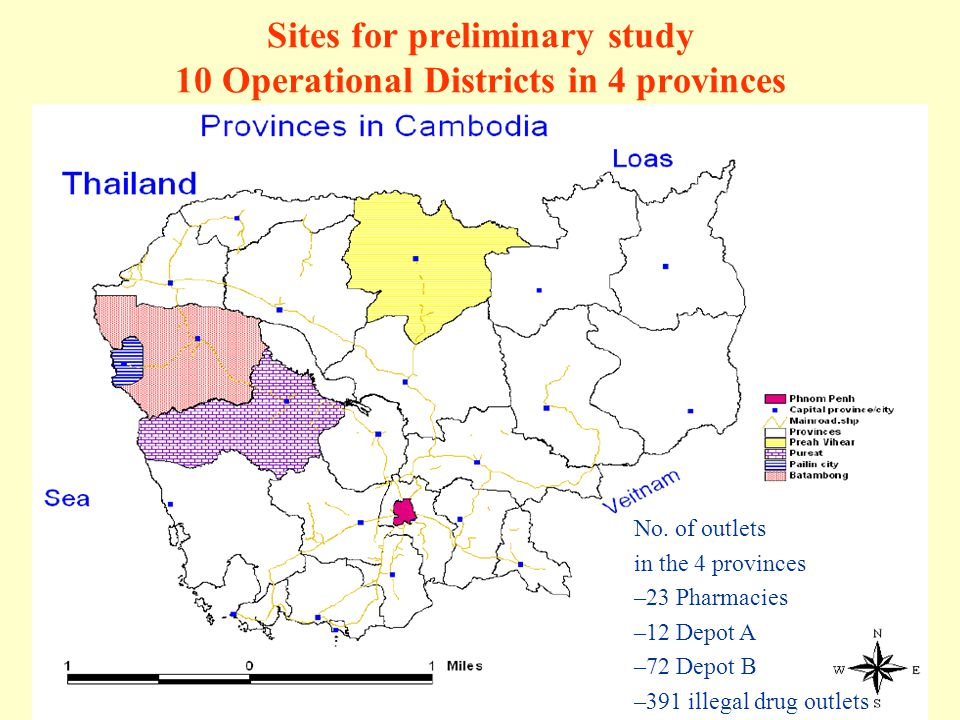 Sites for preliminary study 10 Operational Districts in 4 provinces