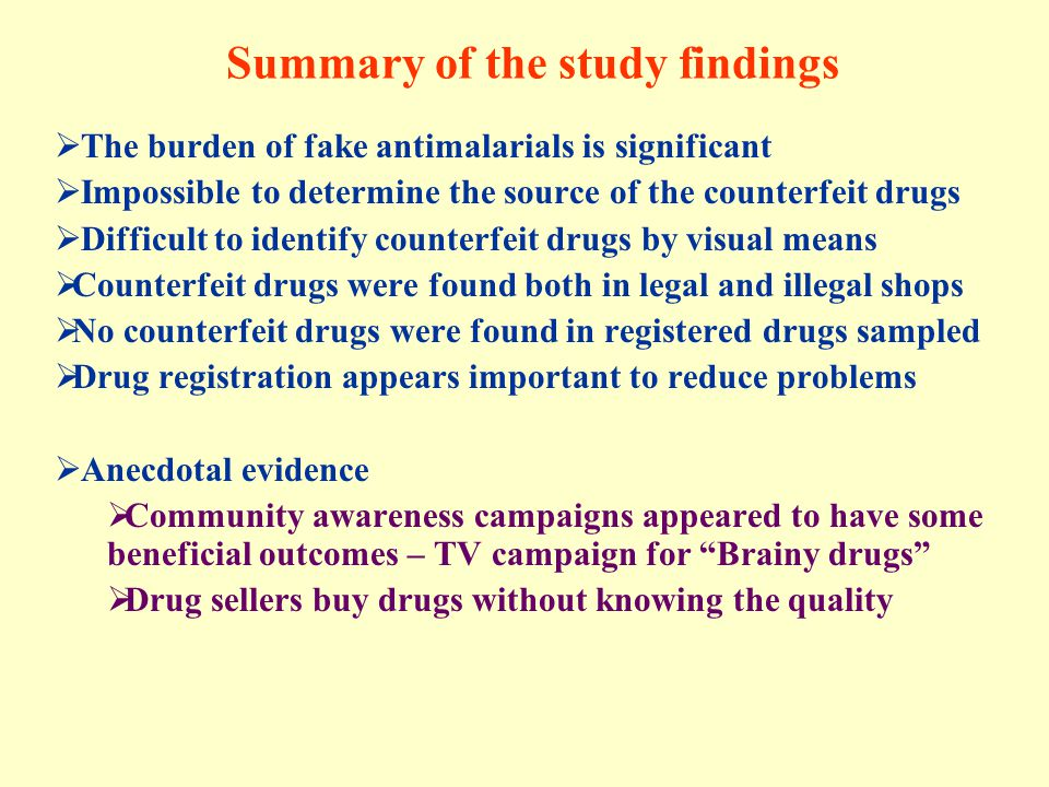 Summary of the study findings