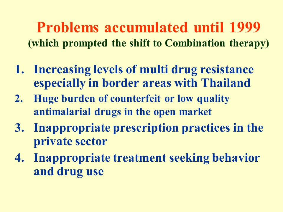 Problems accumulated until 1999 (which prompted the shift to Combination therapy)