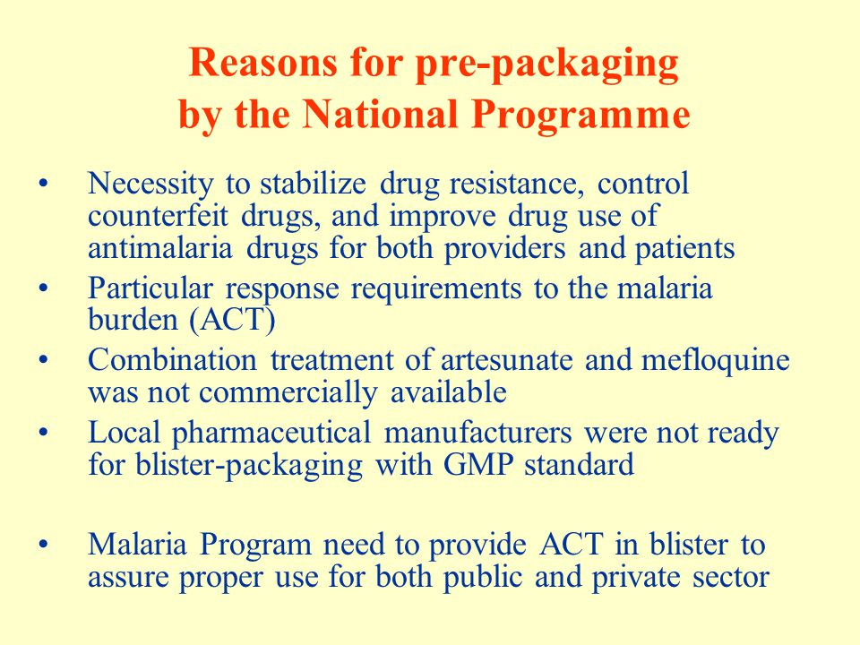 Reasons for pre-packaging by the National Programme