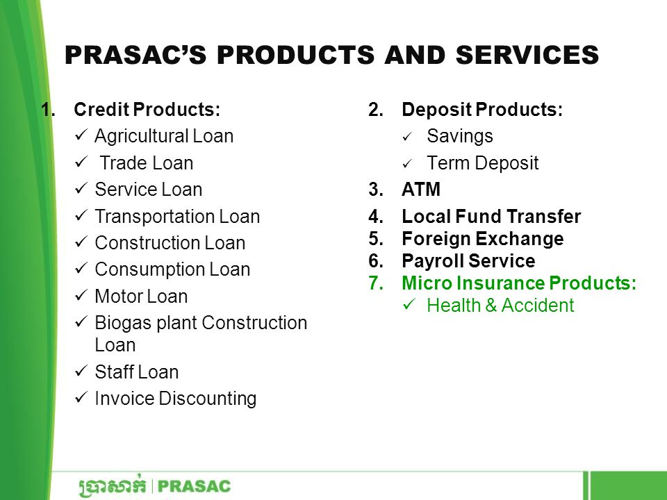 PRASAC'S PRODUCTS AND SERVICES