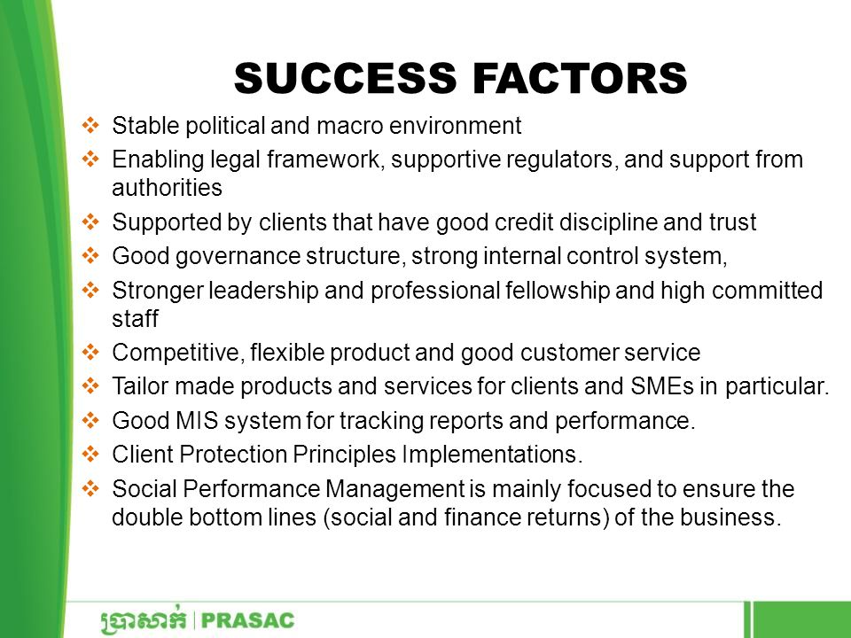 Success Factors Stable political and macro environment
