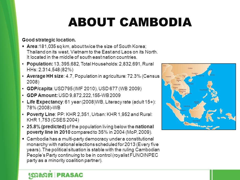 About Cambodia Good strategic location.