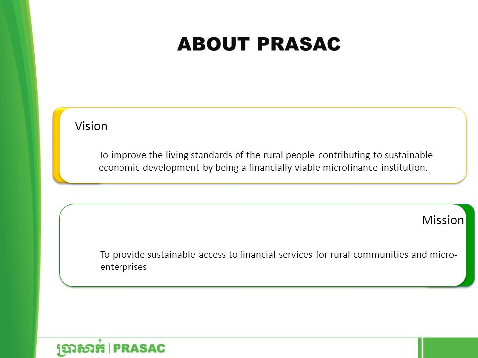 ABOUT PRASAC Vision Mission