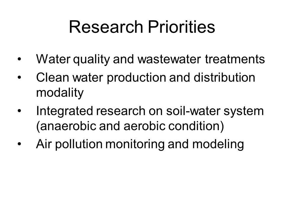 Research Priorities Water quality and wastewater treatments