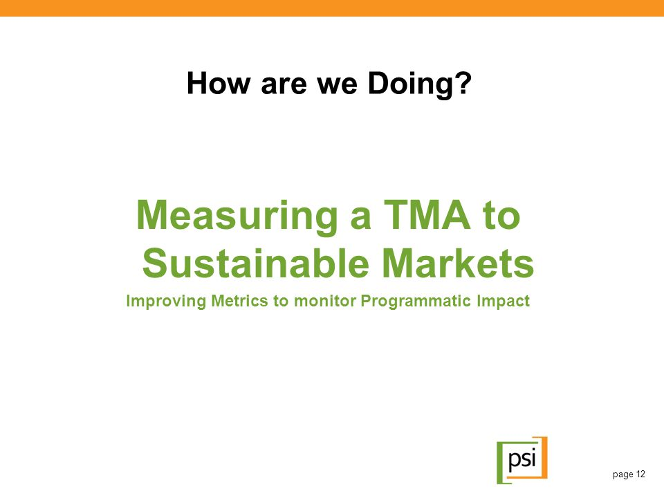 Measuring a TMA to Sustainable Markets