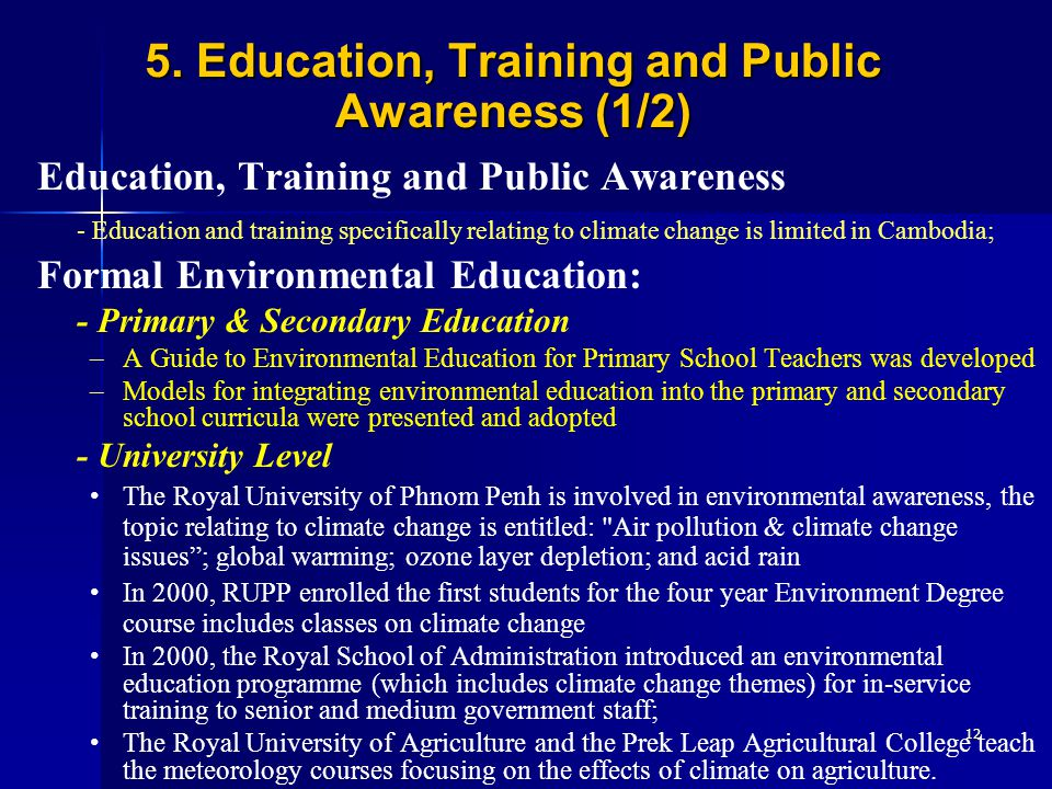 5. Education, Training and Public Awareness (1/2)