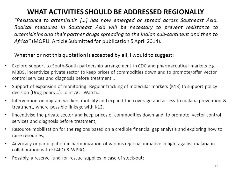 What activities should be addressed regionally