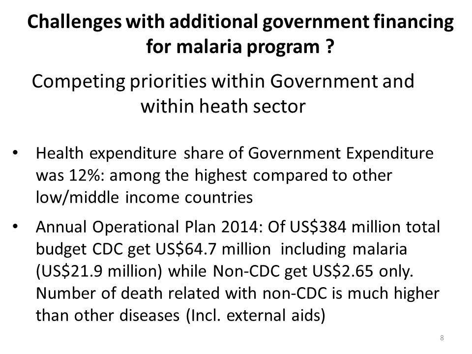Challenges with additional government financing for malaria program