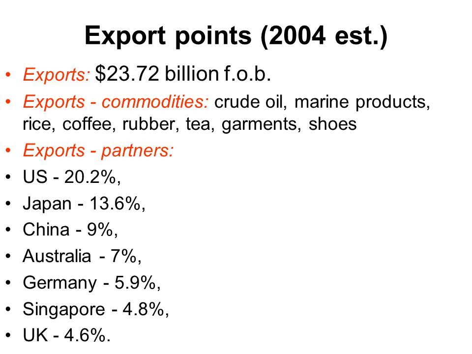 Export points (2004 est.) Exports: $23.72 billion f.o.b.