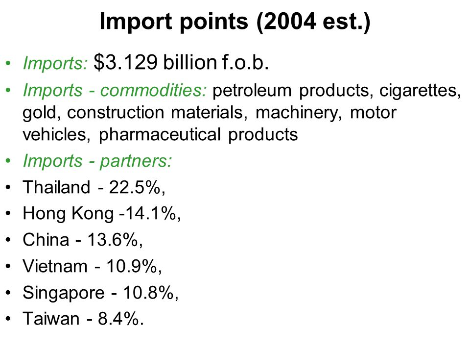 Import points (2004 est.) Imports: $3.129 billion f.o.b.