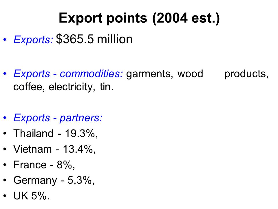 Export points (2004 est.) Exports: $365.5 million
