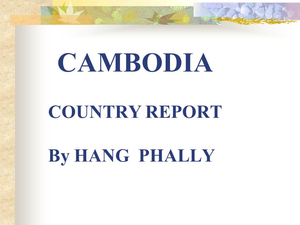 CAMBODIA COUNTRY REPORT By HANG PHALLY