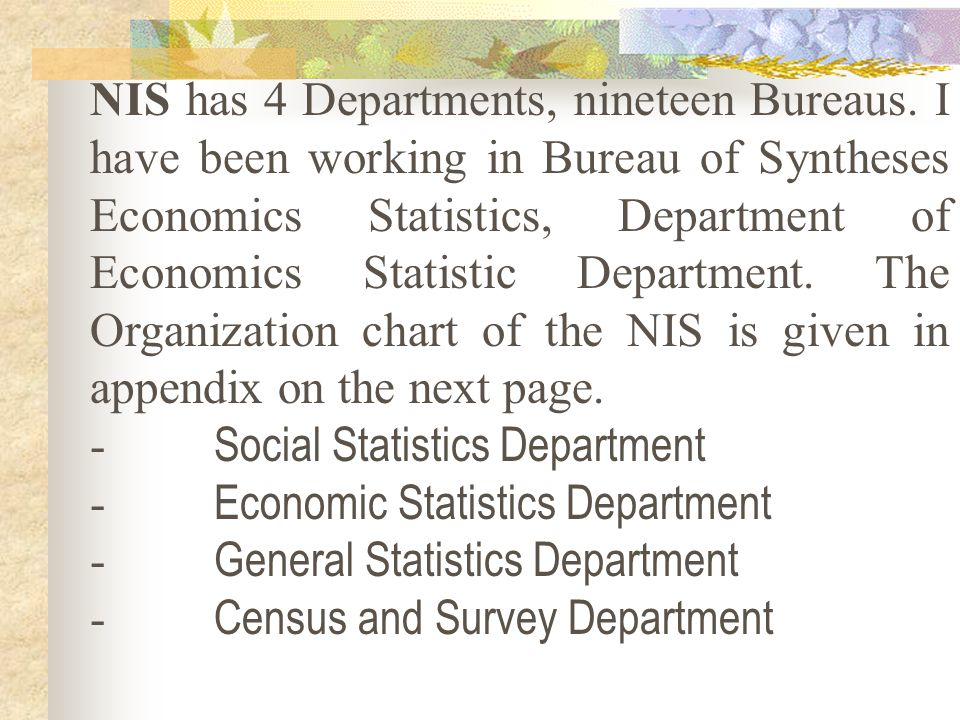 NIS has 4 Departments, nineteen Bureaus