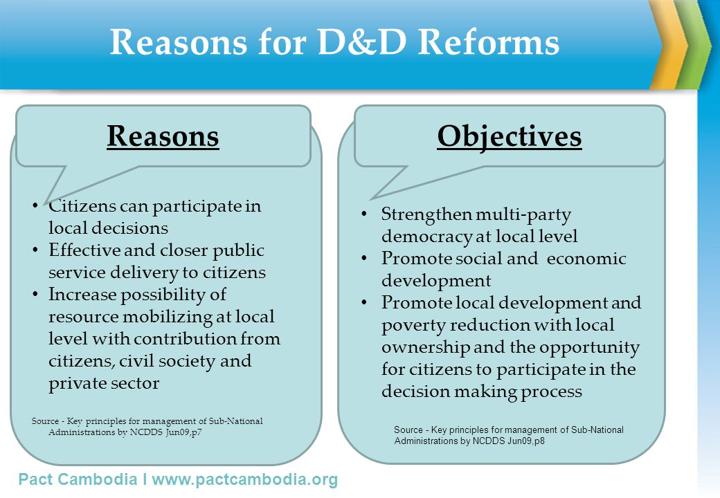 Reasons for D&D Reforms