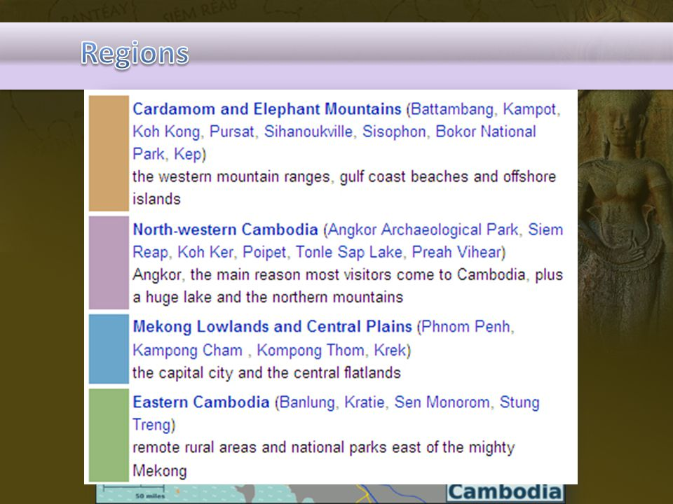 Regions Explain how Cambodia divided the country in term of tourism industry.