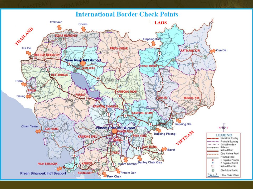 Show students the map of Internation Border Check Points in Cambodia