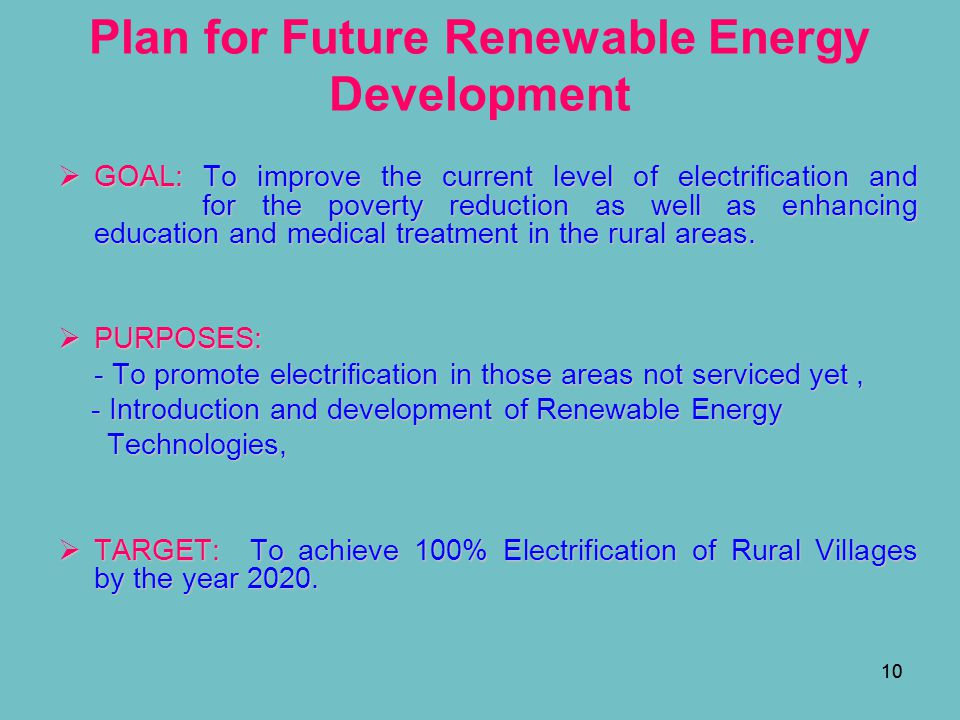 Plan for Future Renewable Energy Development